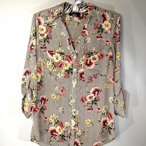 by & by striped + floral long sleeve shirt size m